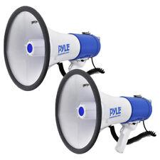 (2) Pyle Megaphone PA Bullhorn with Siren Alarm Mode | Adjustable Volume Control