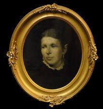 Antique Edwardian Victorian Oil Painting Mourning Portrait Oval Gilt Gesso Frame