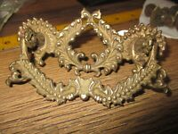VINTAGE ANTIQUE ORNATE BRASS DRAWER PULL  DROP RING HARDWARE DOOR HANDLES ARCO