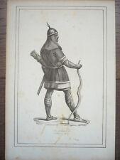 GRAVURE ORIGINALE COSTUME 19ème SIÈCLE GUERRIER AU COMBAT KALMOUK MONGOLIE