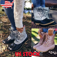 US Women's Glitter Lace Up Duck Boots Casual Waterproof Ankle Booties Rain Shoes