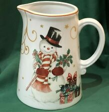 NEW IN BOX~Williams Sonoma TWAS THE NIGHT CHRISTMAS SNOWMAN / TREE Pitcher