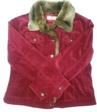 Vintage Marisa Christina Red Velvet Faux Fur Jacket Size Large