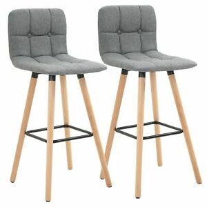 Modern Bar Stool Set Kitchen Counter Dining Room Chair Tufted Padded Seat Grey