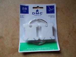 """DMC PACK OF 28 PLASTIC BOBBINS WITH 2.5"""" METAL RING 6105 FREE UK P&P"""
