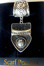 NWT SILVER HEART SCARF RING, SILVER PENDANT, BLACK BEADS CABOCHON SMOKEY STONES