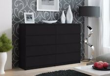 Large Modern Black 8 Drawer Chest of Drawers IKEA Style Easy to Assemble Black