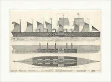 Der Great Eastern, das größte Dampfschiff der Welt Segeldampfer Holzstich E 7694