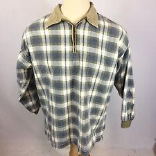 Vintage 90's Skate Grunge Plaid Corduroy Collar Polo Shirt Surf Sweatshirt L