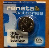 1-Renata 394 Battery SR936SW SR45 Silver Oxide. Authorized Seller. Exp. 08/21