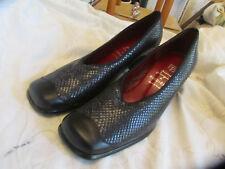Vintage Style Pierre Cupin Black Snakeskin Leather Block Heel Shoes in Size 6 UK