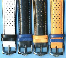 4 Colors 22mm Genuine Perforated Leather Rally Racing MB Strap, Heuer Buckle TAG