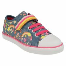 NEW Clarks Brill Doll Girls Washable Canvas Pink Blue Plimsolls Shoes Sz 10.5 F