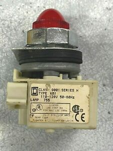 SQUARE D TYPE  KM1 CLASS 9001 SERIES H 110/120V LAMP 755