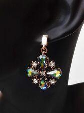 Ohrhänger Vintage floral Kristall Strass Glas regenbogen grün klar antik gold