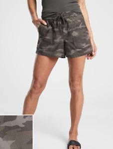 Athleta Black Olive Camo Farallon Elastic Waist Pockets Shorts Size 6