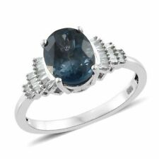 London Blue Topaz, Diamond Ring in Platinum Overlay Sterling Silver 3 cts size S