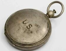 WWII MILITARY BRASS WALTHAM COMPASS w/HUNTING CASE COVER, 1940s vintage