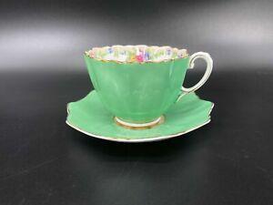 Paragon Green Tapestry Rose Tea Cup Saucer Set Bone China England