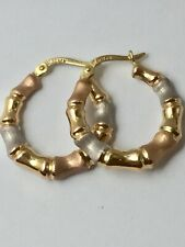 14ct 3 Colour Gold Bamboo Hoop Earrings