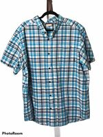 Columbia Men's XXL Blue White Plaid Button Collared Short Sleeve Shirt EUC