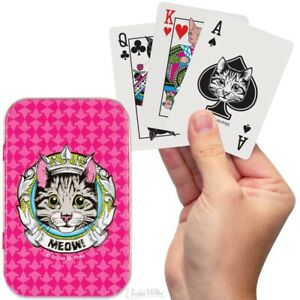 """Archie McPhee """"Crazy Cat Lady"""" Kitty Playing Cards In Tin Box"""