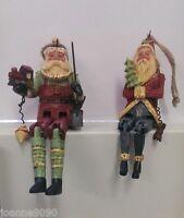 GISELA GRAHAM RESIN TRADITIONAL JOINTED HINGED SANTA CHRISTMAS TREE DECORATION