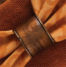 Country Hammered Copper Finish Metal Napkin Ring Set/2 Farmhouse Tabletop Decor
