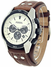 Fossil CH2890 Coachman Chronograph Men's Cuff Leather Watch - New in Box
