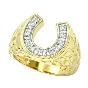 GOOD LUCK MEN'S 14K Gold Over Nugget HORSESHOE Simulated Diamond Pinky Ring
