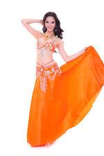 Bollywood Belly Dance Costume Outfit Set Bra Top Belt Hip Scarf Satin Skirt 3PCS