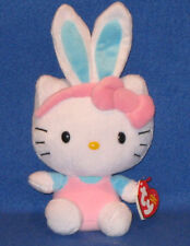 TY HELLO KITTY EASTER BUNNY BEANIE BABY - BLUE EARS, PINK JUMPER - MINT TAGS