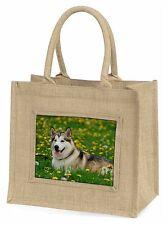 Alaskan Malamute Dog Large Natural Jute Shopping Bag Christmas Gift I, AD-AM3BLN