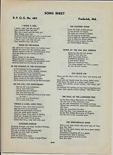 1930 ELKS Song Sheet - B.P.O.E.  No. 684 Frederick, MD