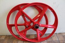700c Deluxe 5-Spoke Mag Rims Front & Rear Fixed Gear Bicycle Wheel Set, Red