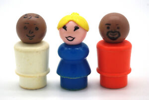3 Vintage Fisher Price Little People Plastic Lot: One Woman, Two Men