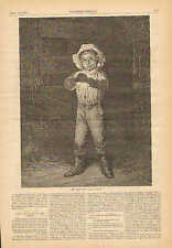 Child, Smoking , Tobacco, His First Pipe, by T.W. Wood, 1879 Antique Print, CUTE