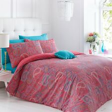Paisley Coral Reversible Duvet Quilt Cover Bed Set With Pillowcases KING SIZE