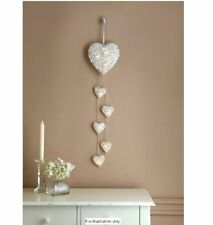 Christmas 6 LED White Rattan Hanging String Heart Lights Window Display