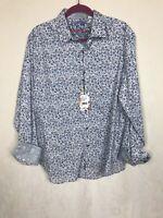 Robert Graham Abstract Floral Flip Cuff Long Sleeve Button Shirt XL $198 NWT