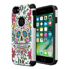 Dual Layer Armor Combat Case for iPhone 7 6s 6 - Sugar Skull Blue