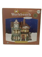 Santas Workbench Tick-Tock Clock Shop Porcelain Lighted House With Box MINT