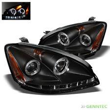 For 2002-2004 Altima Twin Halo LED Projector Headlights Black Head Lights Set