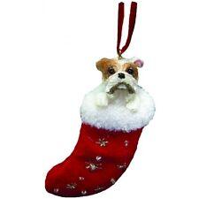 BULLDOG Dog Santa's Little Pals Stocking Christmas Ornament