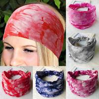 BOHO Wide TieDye Stretch Women Headband Turban Sports Yoga Knotted Hairband Wrap