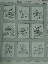 Vintage Baby Animal Embroidered Crib Quilt Pattern TOO CUTE 40s Sewing Material