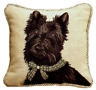"12"" x 12"" Handmade Wool Needlepoint Dog Scottish Terrier Pillow with Cording"
