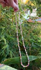 """gemstone beaded necklace multi colored natural gems layering stack 18k gold 16"""""""
