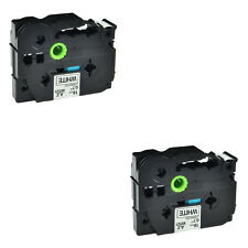 """2PK 18mm Black on White TZ-241 Label Tape Compatible Brother TZe241 P Touch 3/4"""""""