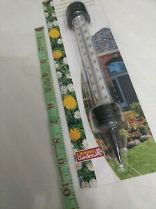 GARDEN THERMOMETER W/STAKE 91/2 INCH PLASTIC &RESIN BRAND NEW SEALED